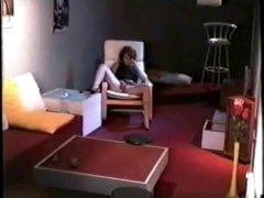 Hidden livecam caught my mom home alone rubbing her muff