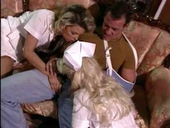 Hot golden-haired nurses ready for a three-some