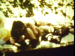 Classic outdoor threesome scene